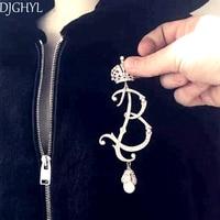 2016 High Grade Desgin Crystal Large Brooch Baroque Crystal Pearl Crown Letter Logo B Brincos Brooch