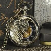 TIEDAN Steampunk Male Clock Transparent Mechanical Pocket Watch Desinger Retro Antique Vintage Automatic Pocket Watch Gift