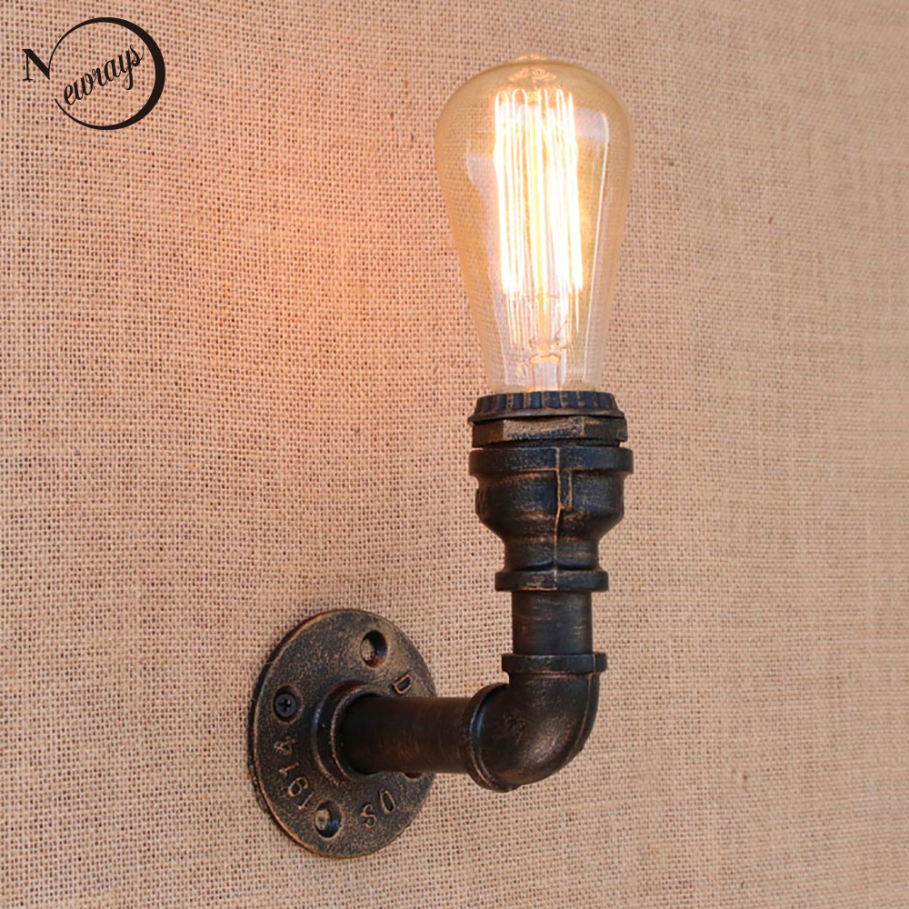 Loft Retro iron Water pipe vintage wall lamp bedside with edison/led bulb E27 110v-220v lights for restaurant cafe night light loft retro iron water pipe vintage wall lamp with edison led bulb e27 lights ac 110v 220v for cafe hallway bedroom study bar