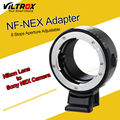 Nf-nex viltrox lens adaptador de montagem do tripé 8 passo botão de abertura para nikon f af-s ai g lens para sony e nex câmera nex a7r a7s 7 6 5