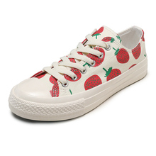 Moxxy Summer Autumn Print Fruit White Shoes Women Flat Canvas High Top Female Sneakers zapatillas mujer casual