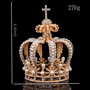 Image 4 - Big Crown Crystal With Pearl Tiaras and Crowns Wedding Crown Bride Womens Head Band Vintage Baroque Royal HairBand Accessories