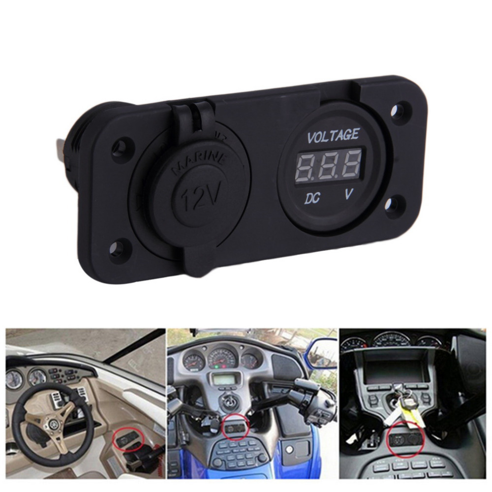 2 in 1 Car Styling Waterproof 12V Car Cigarette Lighter Socket Power Panel Voltmeter For Camper Caravan Marine Auto hot selling