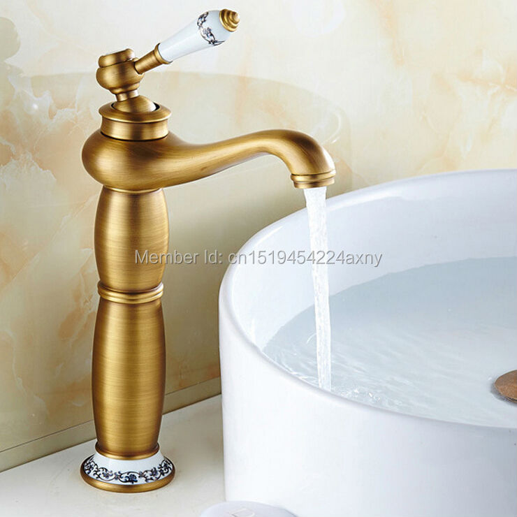 Free Shipping Contemporary Antique Brass With Ceramic Bathroom Faucet Sink Basin Mixer Water Tap Home Improvement GI25