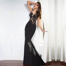 Nach Maß Vestidos de noite Elegante Appliques Sheer Schwarz Abendkleider 2016 lange Zug Mermaid Volle Party Kleid