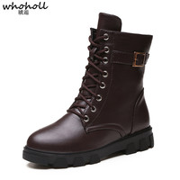 Whoholl Women Ankle Boots Shoes Woman 2018 Spring Fall Patent Leather Lace Up Shoes Punk Plus Size 38 39 Riding, Equestr Boots