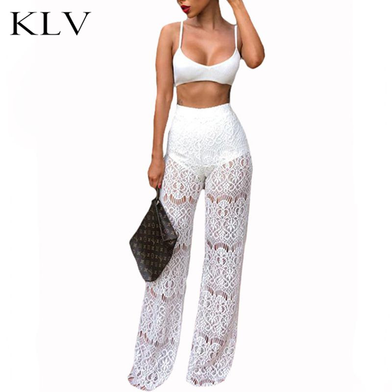 Women Sexy 2 Piece Outfit Ribbed Knitted Bralette Crop Top High Waist Sheer Floral Lace Wide Leg Long Pants Night Party Clubwear in Pajama Sets from Underwear Sleepwears