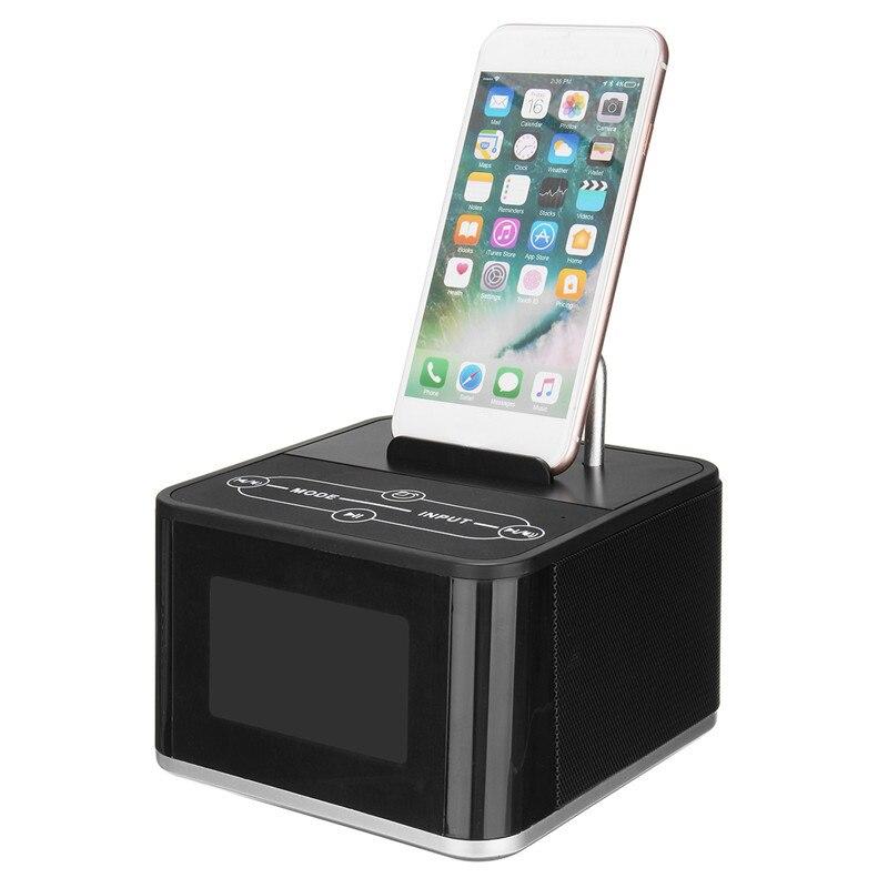 цена на Portable Wireless Bluetooth Speaker Mini Stereo Audio Music Speakers Soundbar Clock Phone Holder Dock Station FM Alarm Clock