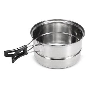 Image 3 - 3 pièces Camping batterie de cuisine en acier inoxydable Pot poêle à frire support de cuisson à la vapeur en plein air maison cuisine ensemble de cuisine
