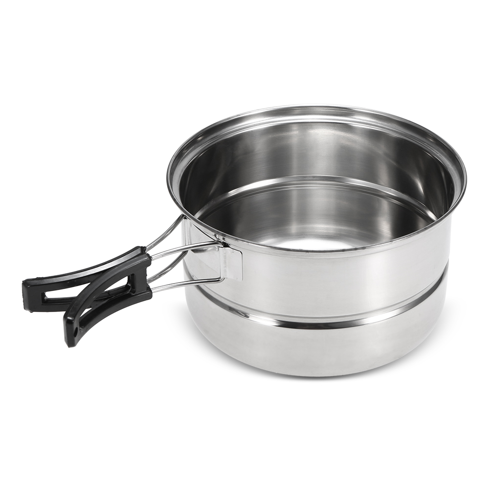 Image 3 - 3Pcs Camping Cookware Set Stainless Steel Pot Frying Pan Steaming Rack Outdoor Home Kitchen Cooking Set-in Outdoor Tablewares from Sports & Entertainment