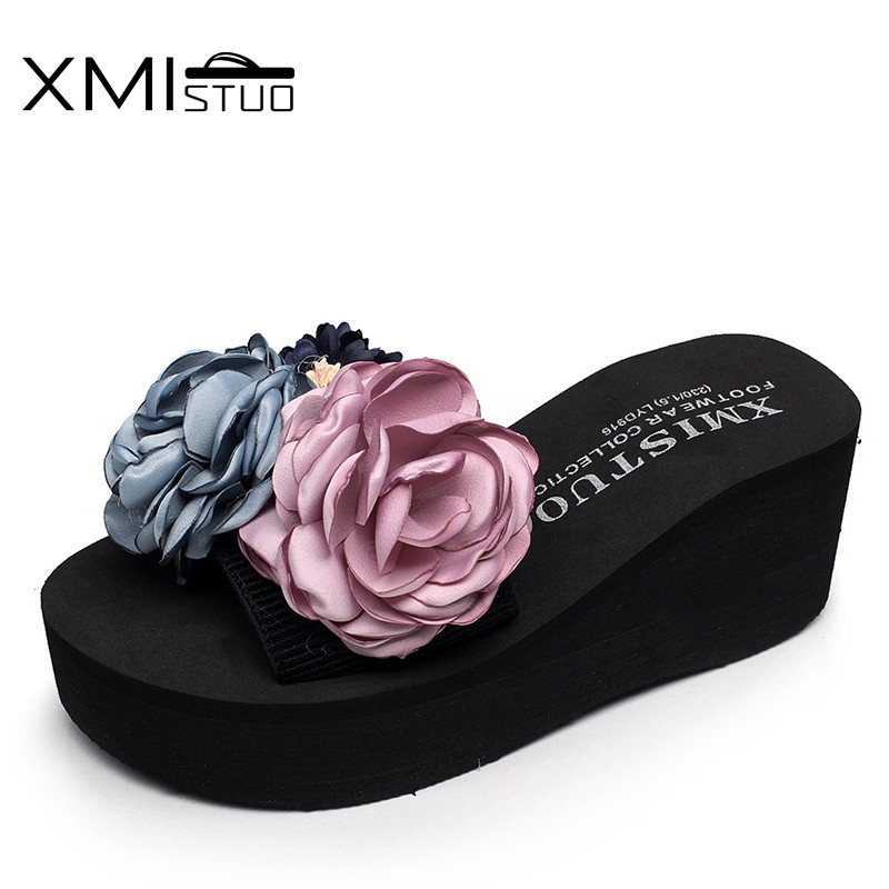 XMISTUO Hand-made Beautiful Flowers New Women's Slippers With Elastic Belt Flip-flops Sandals Slippers Casual Wear Beach Shoes