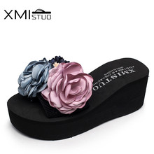 XMISTUO Hand-made beautiful flowers new womens slippers with elastic belt flip-flops sandals casual wear beach shoes