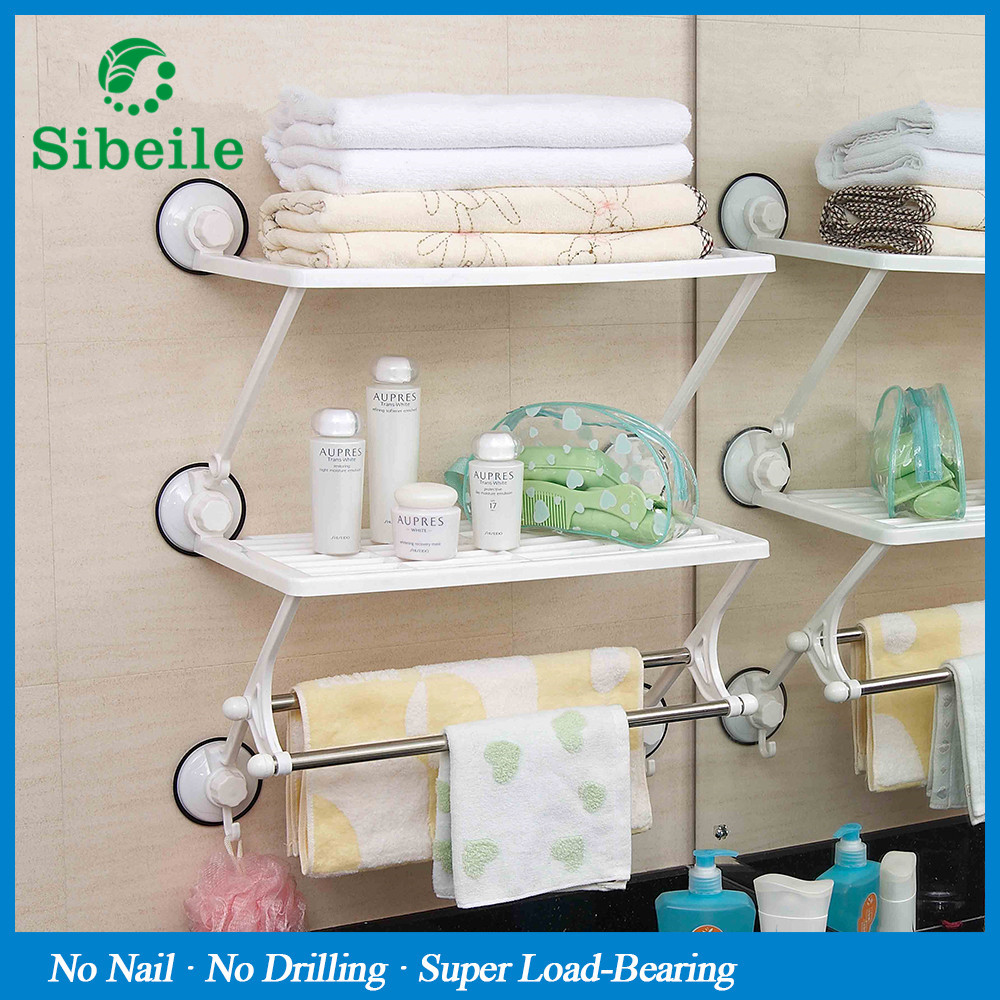 SBLE Double Layer Bathroom Shelves Towel Rack with Double Storage ...