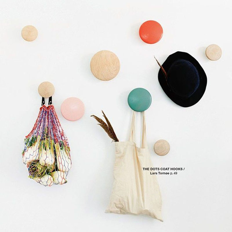 5pcs/set Colorful Hanger floor bag wall hanger wood dots hook rack hook the Dots coat hooks clothes hanger rack hanger