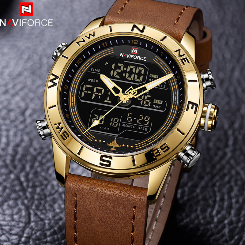 NAVIFORCE Men Watch Top Brand Luxury Sport Chronograph Digital Male Clock Genuine Leather LED Military Quartz Wristwatch 9144