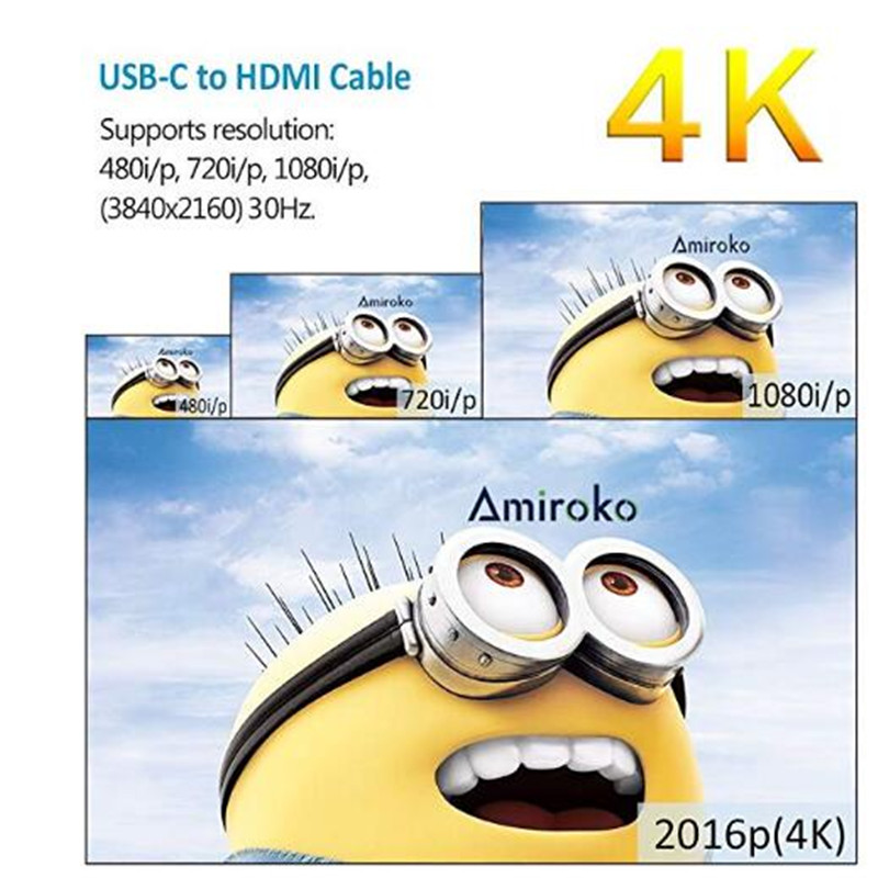 USB 3 1 Type c to HDMI Video 1 8 M Cable 4Kx2K USB C USB 3 1 to HDMI Support 4K 1 8 Meters USB 3 1 hdmi in HDMI Cables from Consumer Electronics