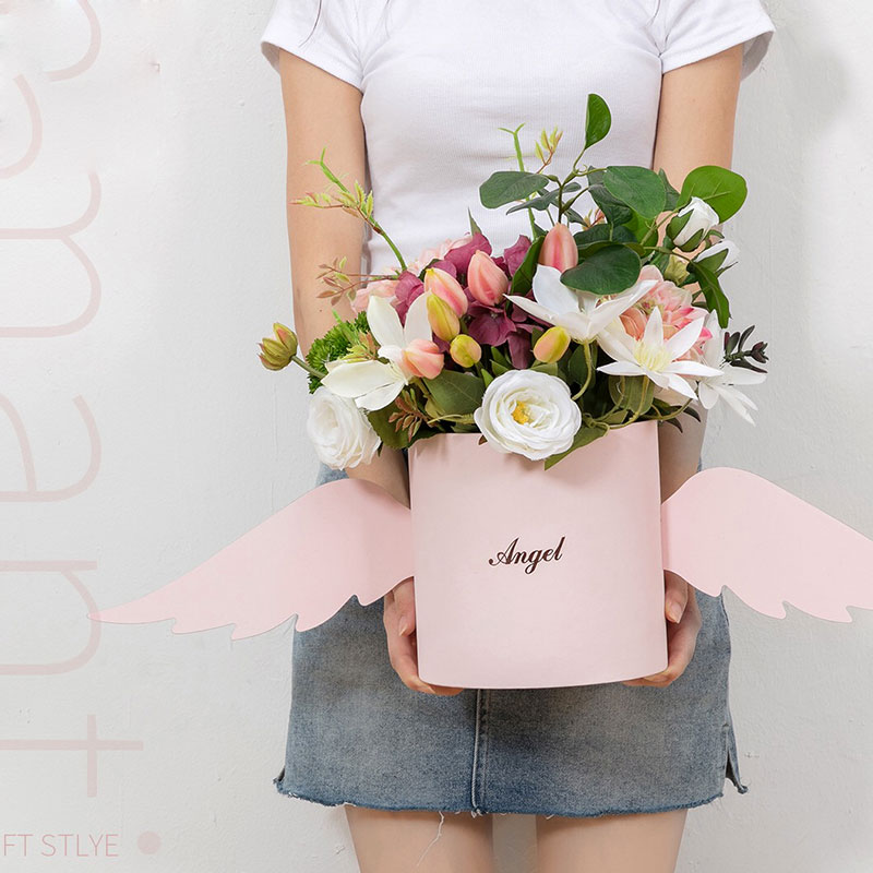 Angel Wings Flower Arrangement Box With Lid Flower Bucket Florist Bouquet Rose Boxes Floral Gift Packaging Box Wedding DIY Decor box