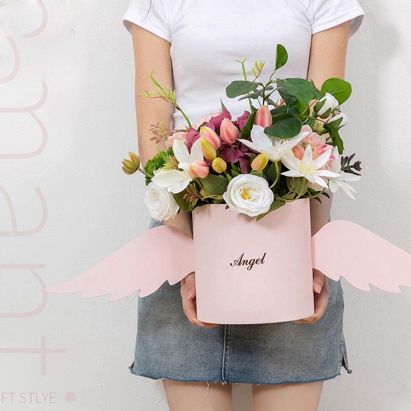 Angel Wings Flower Arrangement Box With Lid Flower Bucket Florist Bouquet Rose Boxes Floral Gift Packaging Box Wedding DIY Decor Тостер