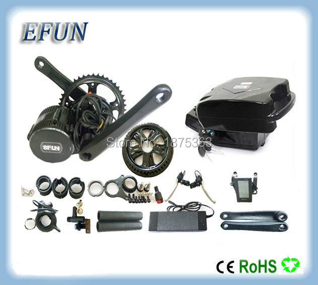 DIY Ebike kits 8Fun/Bafang BBS02 36V 500W mid drive motor kits with 36V 13Ah little frog battery for fat tire bike/city bike 36v 500w c965 bbs02 8fun bafang mid crank drive motor ebike kit 36v 13ah lithium ion frame ebike battery
