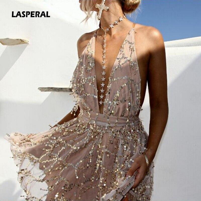 LASPERAL 2019 весенние вечерние платья сексуальные платья женские с открытой спиной Холтер Черное золото мини платье вечерние платья с кисточками Женская Клубная одежда