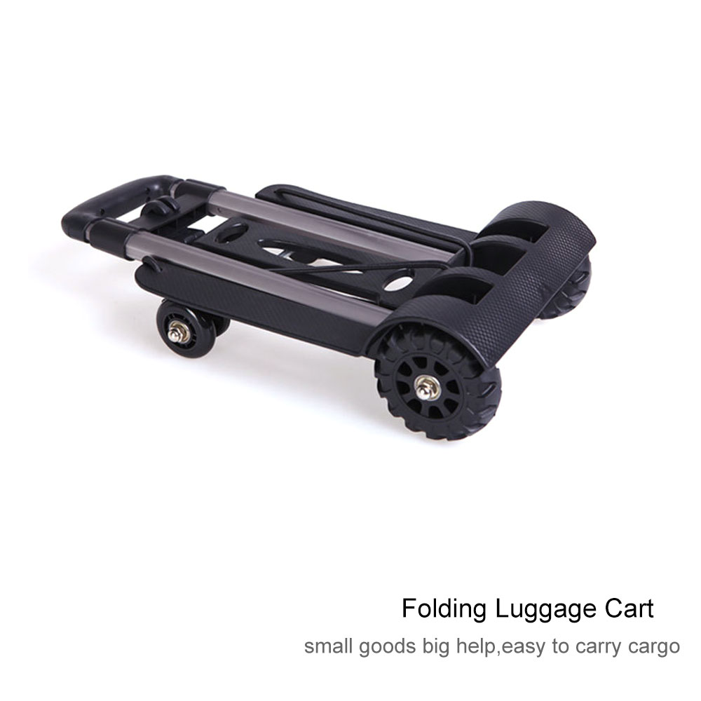 Aluminum Alloy Car Folding Luggage Cart Portable Travel Trailer Household Luggage Cart Shopping Trolley