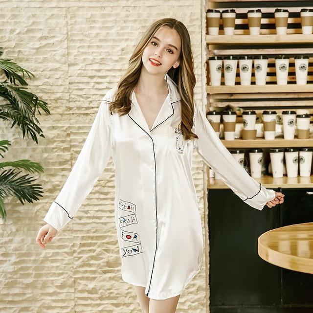 SSH0230 Women Nightgowns Sexy V Neck Night Dress Satin Silk Shirt Nightwear  Female Sleep Lounge Ladies Nightgowns Sleepshirts c9a0e9c05
