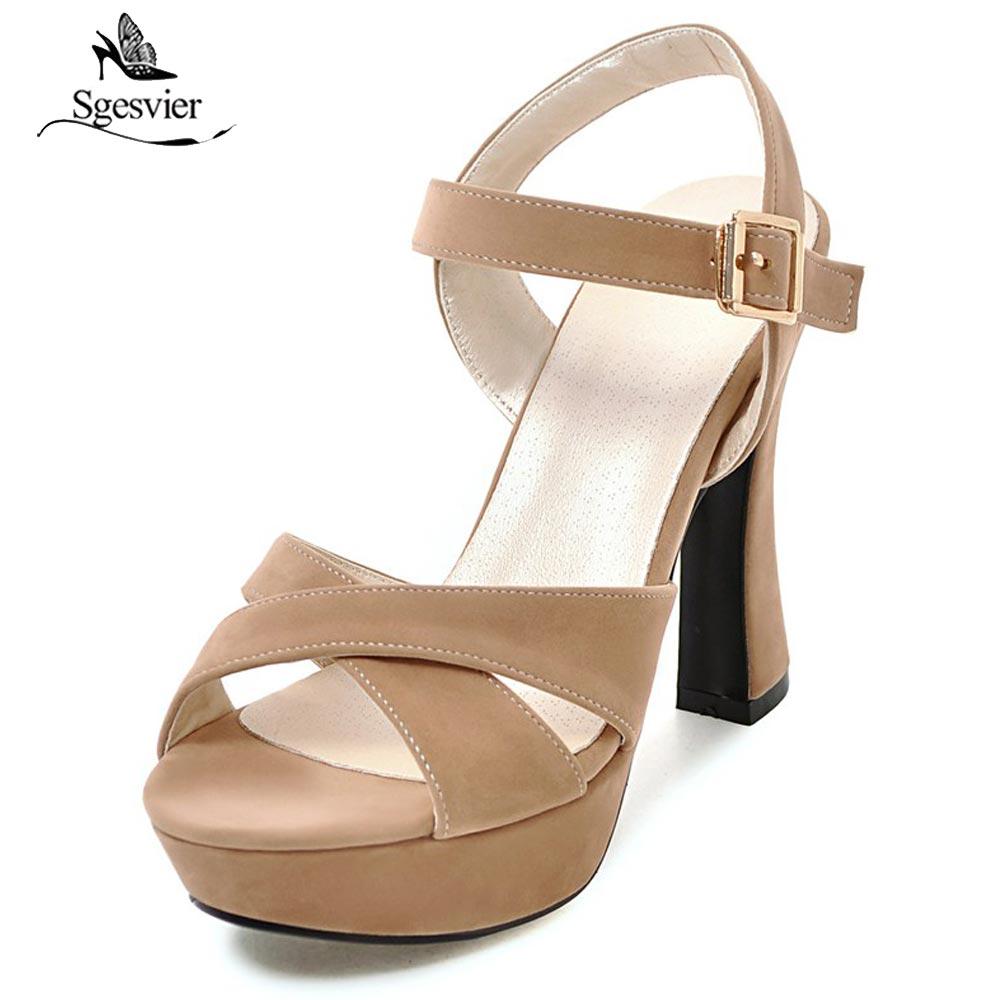 Sgesvier Sandales Dames Boucle Épais Chaussures 32 apricot Sangle Femmes Haut red Plate Peep Toe Talon B111 Taille forme Noce 43 Noir De rq5rAxw