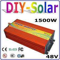 1500W 48V to 110V 220V Power Inverter, 1500W Off Grid Pure Sine Wave Inverter for Solar/Wind/Car Home Use System