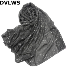 2019 Spring New Style  Voile Solid Color Hot Silver Scarf Women Dark Grey High Quality Scarf Women and Shawls Whole Sale hot sale dot and tassels embellished voile scarf for women