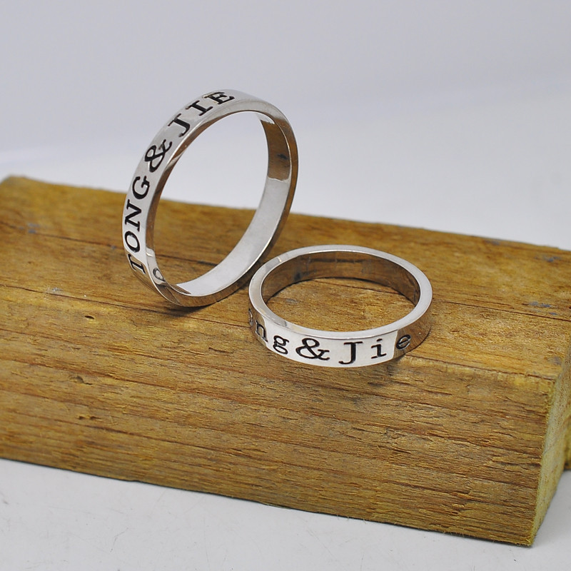 3mm Ring Set 925 Sterling Silver Personalized Couple Rings 2 Side