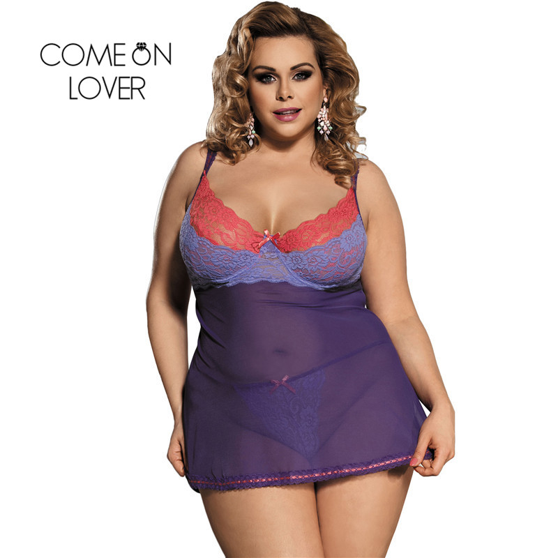 Comeonlover Purple Lace Bielizna Damska Erotyczna Plus Size Womens Lingerie And Exotic Underwear Picardias Sexi Mujer RI80297 1