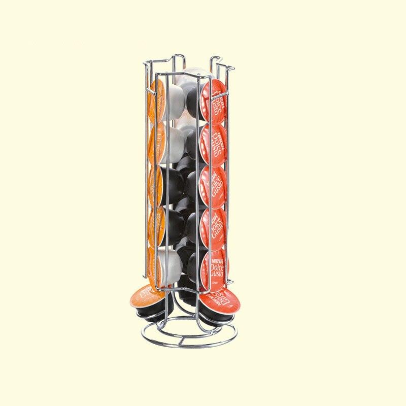 18/21/24/36 piezas Dolce Gusto Cápsula de Metal cápsula Nespresso titular de hierro cromado Cápsula de café rack de almacenamiento organizador