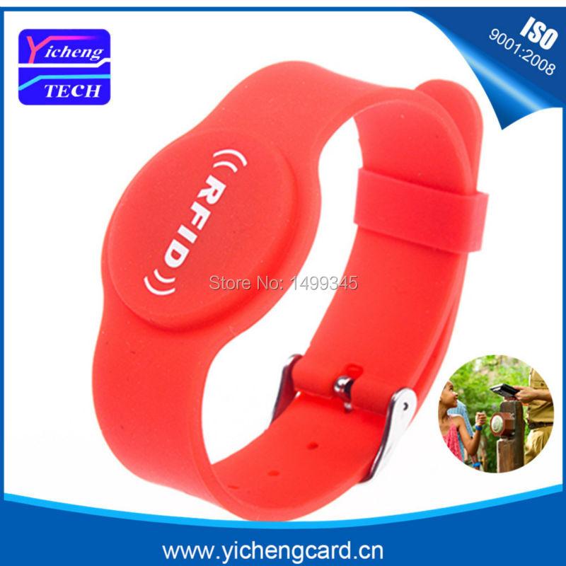 New arrival 100pcs EM4305 rfid 125KHz RFID Silicone Wristband RFID Bracelet Waterproof ID Card rfid wristband for Access Control
