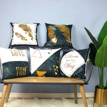 Modern Simple Newest Fashion Pillow Case Sale Vintage Feather Letter Geometric Cover Mable Golden Cushion 45*45cm