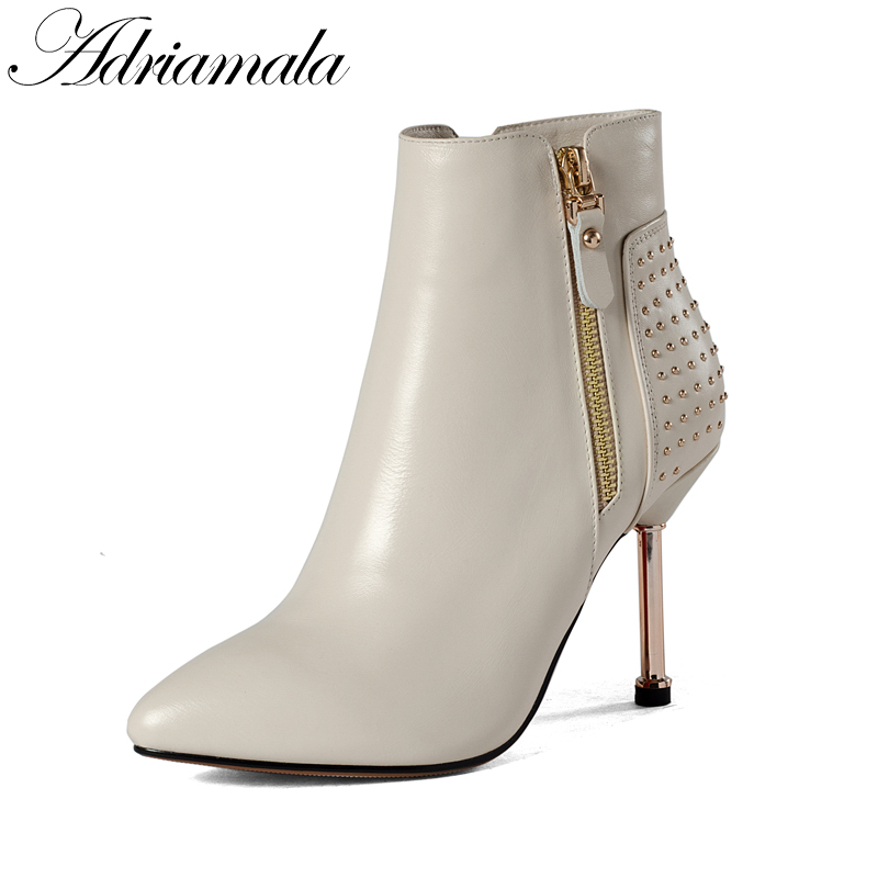 2017 Pointed Toe Sexy High Heels Real Leather Ankle Boots For Women Spring Autumn Genuine Leather Fashion Fashion Short Boots