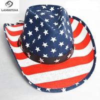 Welcomed Panama Straw Hats Summer Beach Mexican Cowboy Hat with USA Flag Print Logo Hi-Q Western Cowgirl Hat GH-340