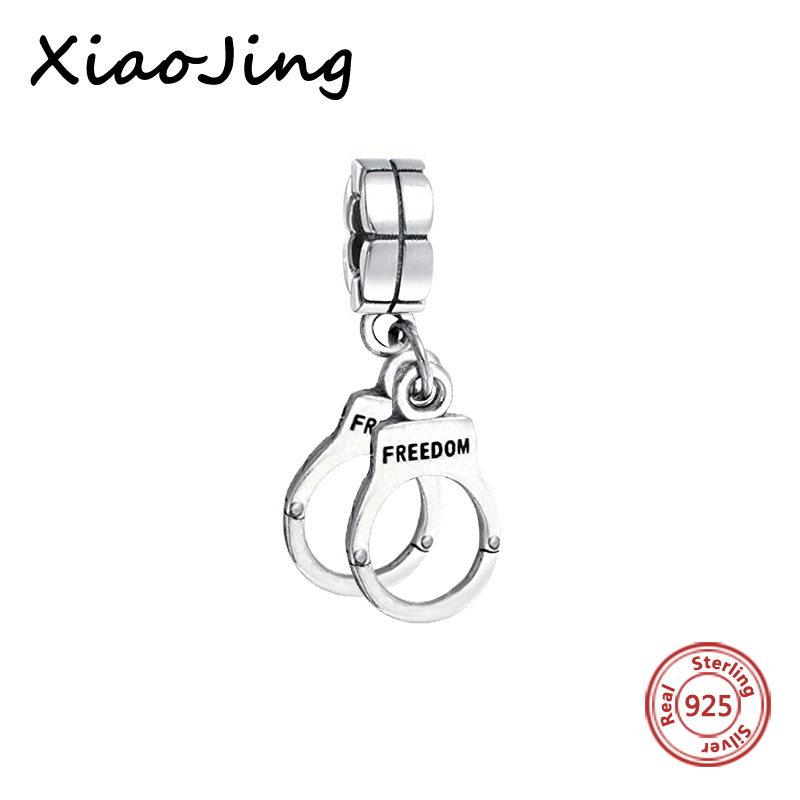 2018 Symbol Of Freedom Silver 925 Original Handcuffs Charms Bead Fit Authentic Pandora Bracelets Pendants Jewelry Making Gifts