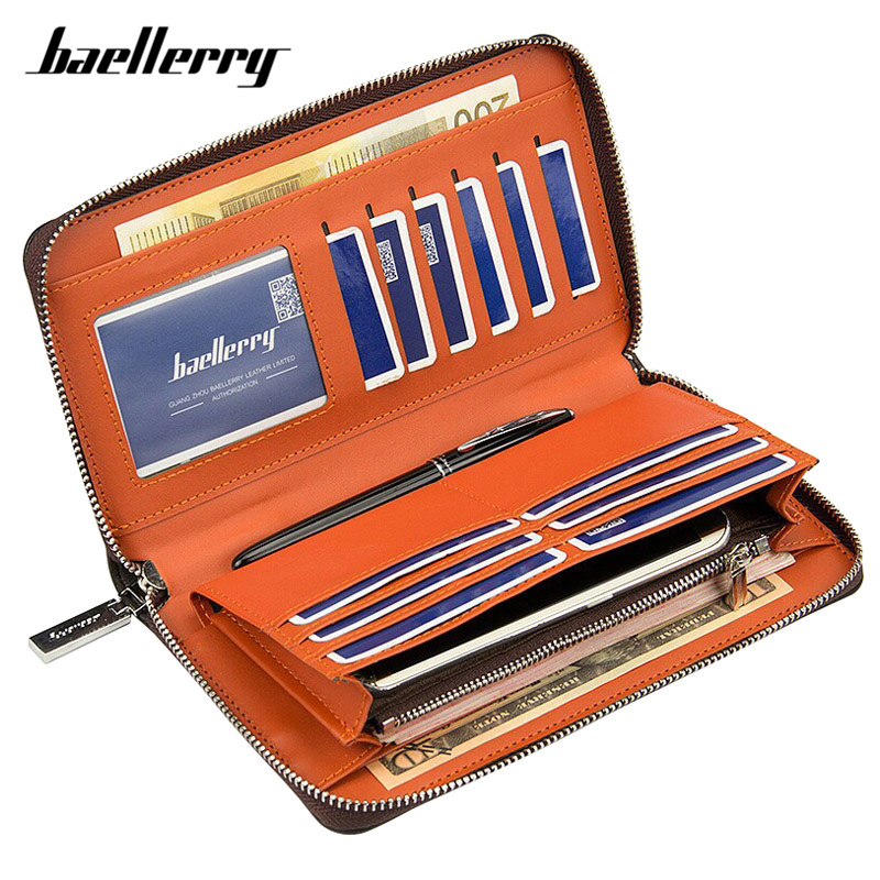 Baellerry Brand Designer Wristband Wallets Men Vintage Large Capacity Male Purse