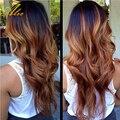 Produtos para o cabelo de rosa com fecho de cabelo Humano Não Transformados Cabelo ombre Brasileira tecer Cabelo virgem com encerramento Tissage Bresilienne