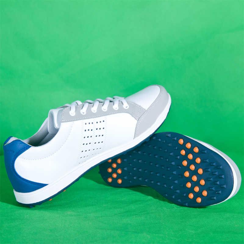 עור אמיתי Mens סיור 360 חנק דחיפה עמיד למים ממוסמר גולף ספורט נעלי פרו סיור יציב Spikes סניקרס