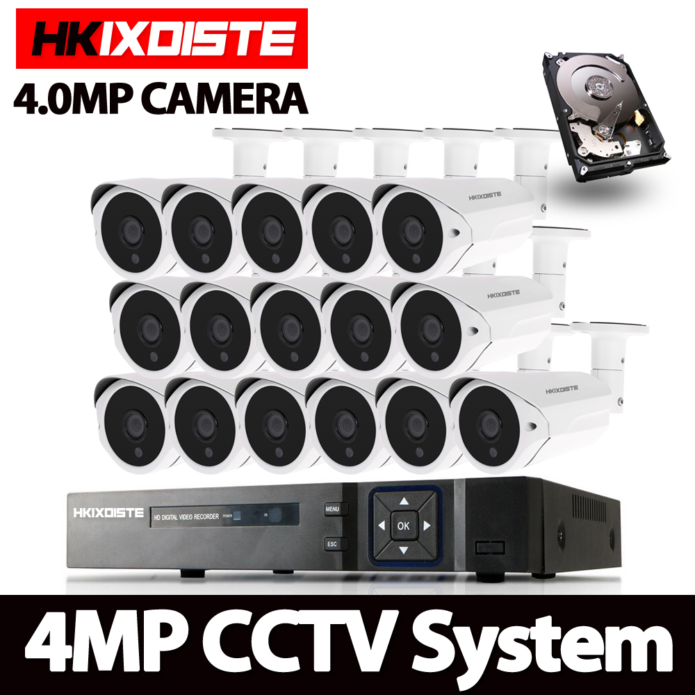 AHD 16CH CCTV System 1080P HDMI DVR 16pcs 4MP Indoor Outdoor Weatherproof CCTV Camera Security System 4.0mp Surveillance Kit full hd 16 channel 1080p ahd dvr kit 16pcs video surveillance security outdoor indoor 720p camera 1 0mp camera 16ch cctv system