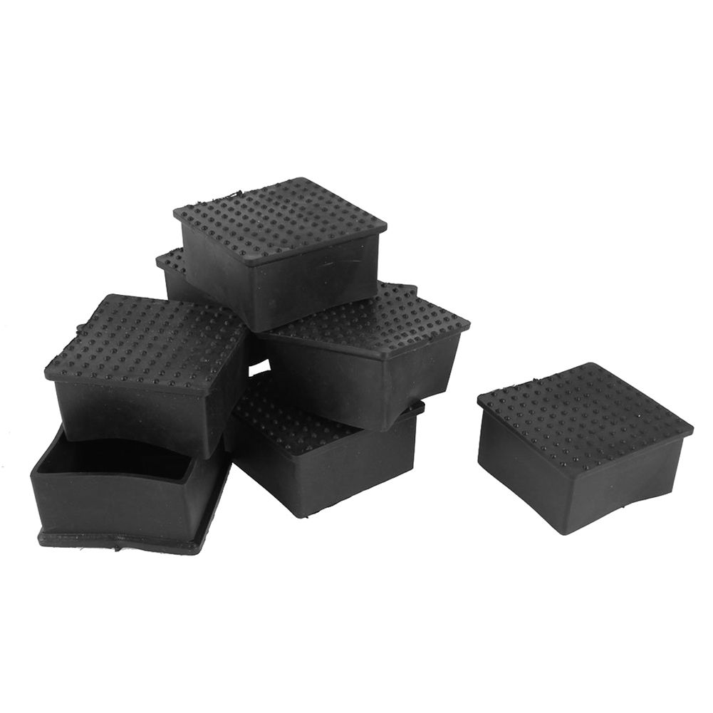 Hot Sale 10 Pcs Square PVC soft Covers Furniture Foot Protector 60mm x 60mm Black цены