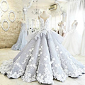 Newest Ball Gown Quinceanera Dresses 2017 V-Neck Sleeveless Applique Flowers Satin Prom Dresses Illusion Back Chapel Train