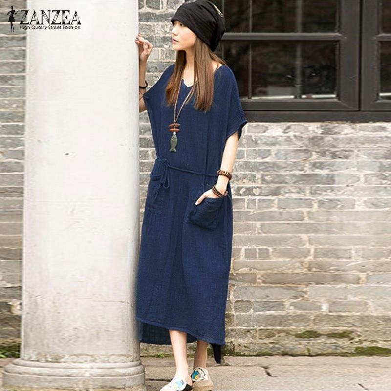 De gran tamaño 2017 verano zanzea mujeres retro casual larga floja dress algodón