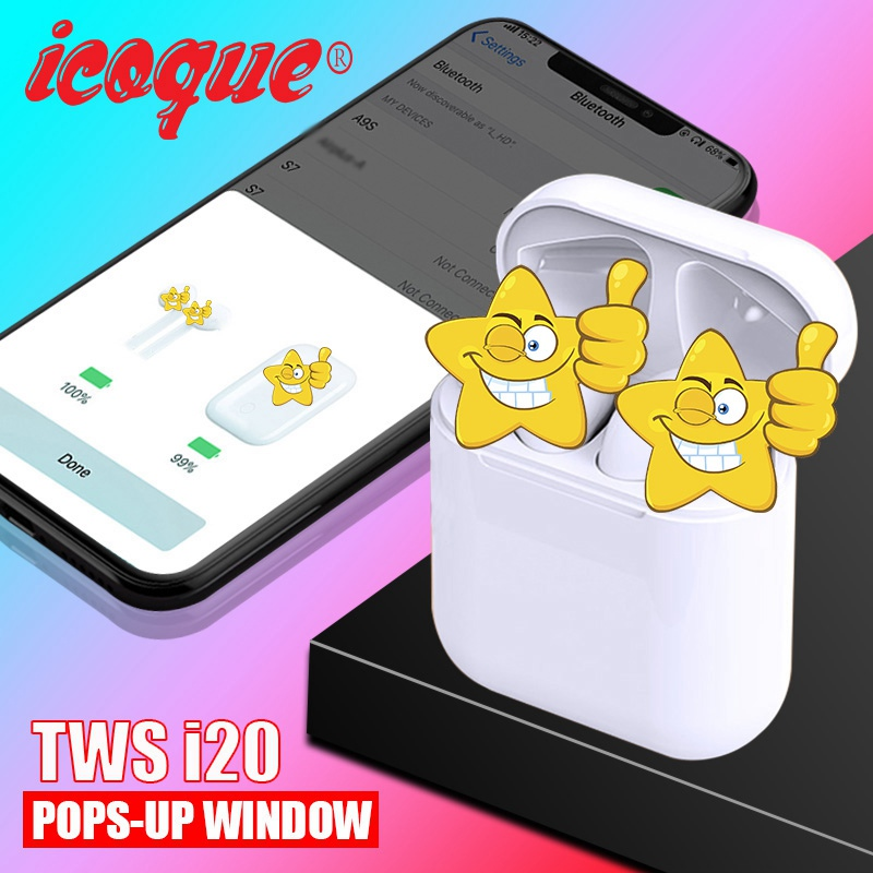 Pop up 2019 i20 <font><b>TWS</b></font> Wireless Bluetooth 5.0 Earphone Mini Headset 1:1 Bass Wireless Headphones PK i12 i10 <font><b>TWS</b></font> i11 i13 <font><b>i14</b></font> i7s i9s image