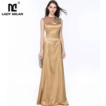 Lady Milan 2019 Womens O Neck Sleeveless Embroidery Sexy Sheer Back Elegant Party Prom Satin Long Dresses
