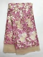 Buena Mano Grande Lentejuelas Encaje Francés Últimas Bordado Tela de Encaje Apliques Moda Textil de Encaje Francés 3D Al Por Mayor Para El Vestido De Encaje