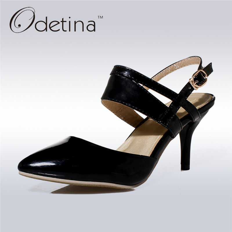 Odetina 2017 New Summer Womens Buckle High Heel Ankle Strap Pumps Slingback Thin Heels Pointed Toe Sexy Shoes Wedding Sandals 2018 women high heel party pumps wedding sexy shoes lady thin heels 9 cm ankle buckle strap pointed toe rivet nightclub fashion