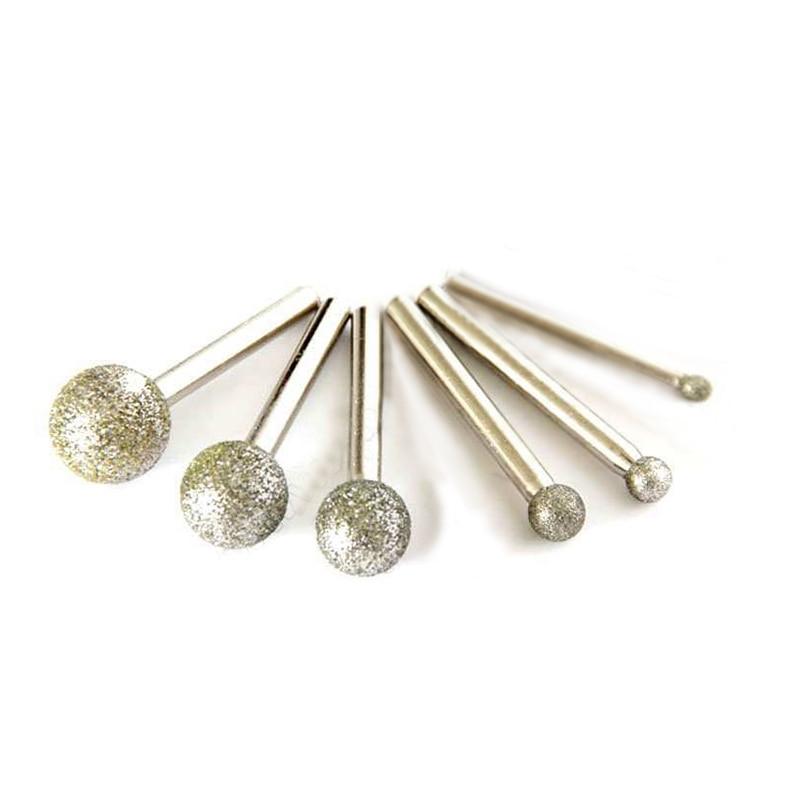 6pcs Round Diamond Grinding Head Wheel Dremel Rotary Tool Burs Set Accessories Mini Drill Burr Bts Disc Tools For Glass Stones