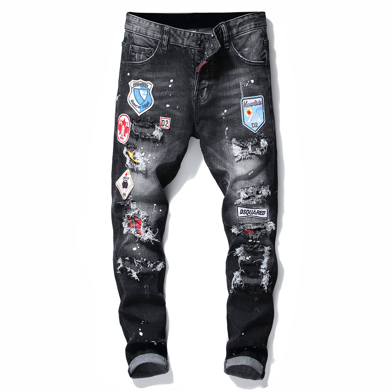 Ripped torn mens   jeans   black embroidery slim skinny   jeans   stretch pants men trousers clothes hip hop streetwear Autumn Winter